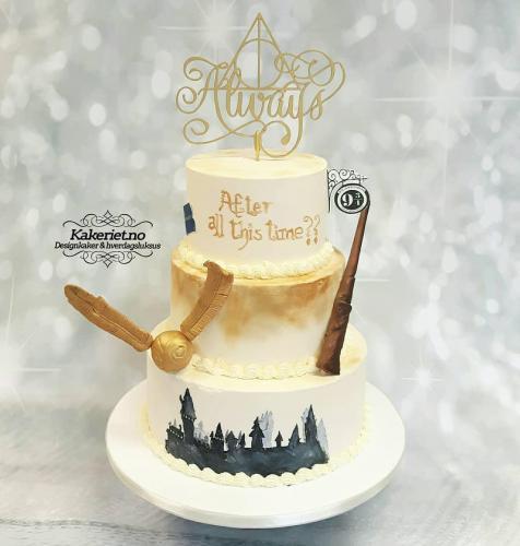 harry potter inspirert bryllupskake
